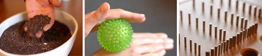 Handtherapie mit Raps und Igelbällen, Steckspiel
